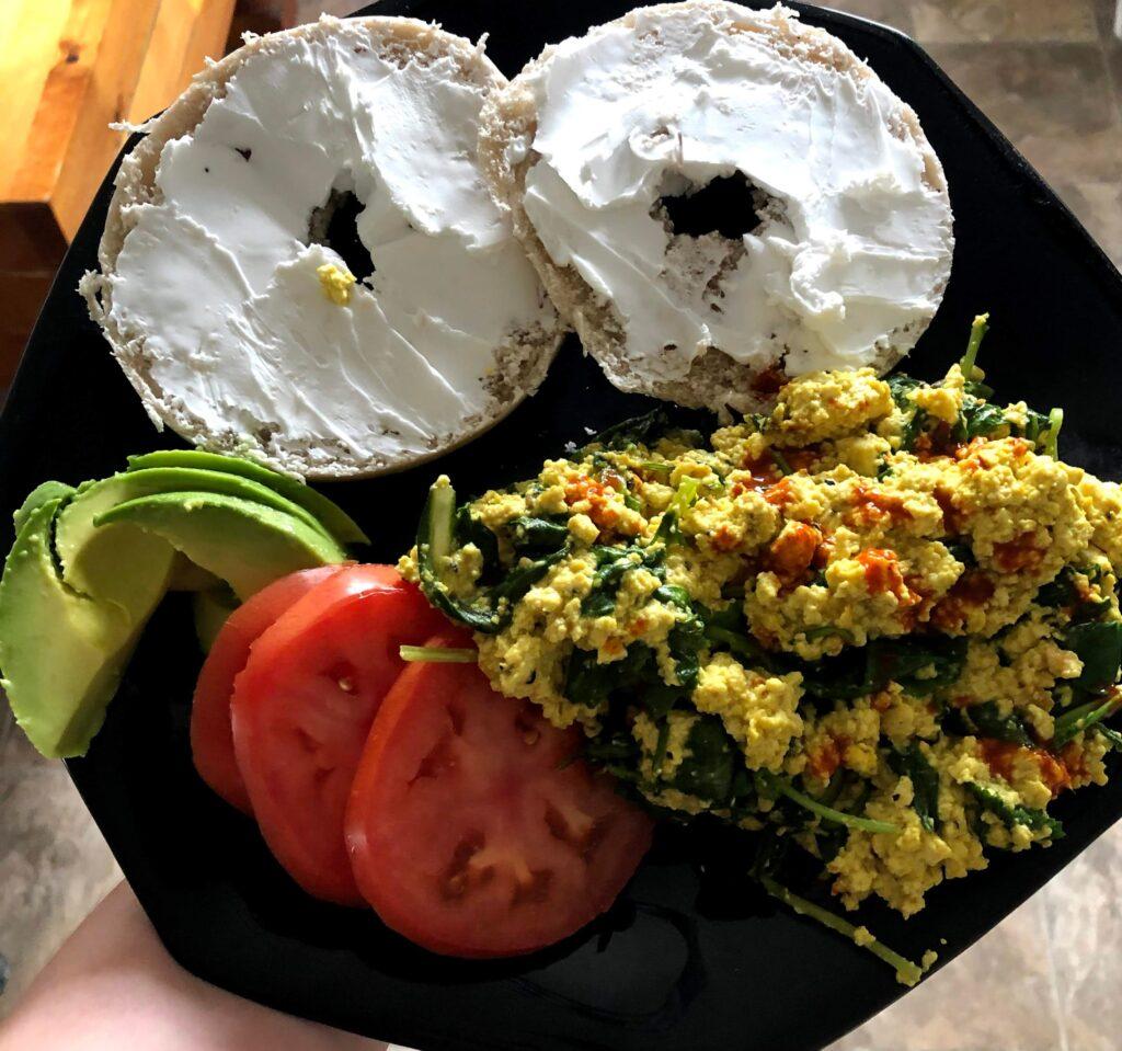 Taliesyn's healthy breakfast, which looks delicious.